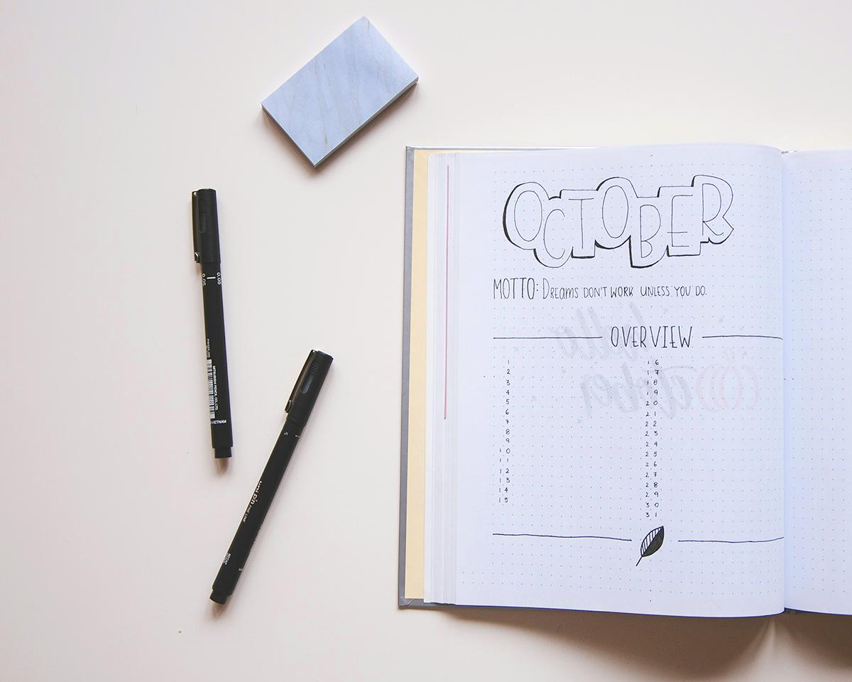 Bullet Journal October monthly log